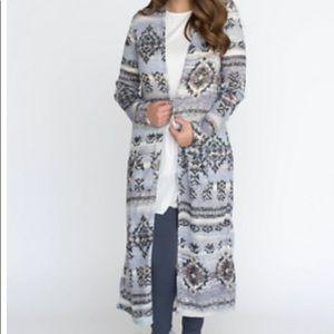 Agnes & Dora Sweaters - Agnes & Dora Neutral/ Gray Print Duster NWT